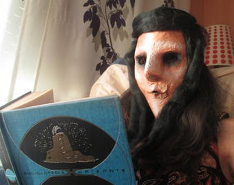 Mask paper mache. Mysterious Lady of the desert and the space.