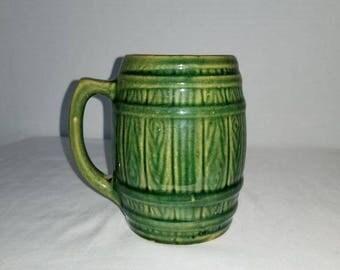 Vintage Barrel Mug,Pottery Mug,Greenware,Earthenware,Green Tankard,Green Mug,BEER MUG,Gifts for HIM,Vintage Pottery,Rustic,Primitives,1940s