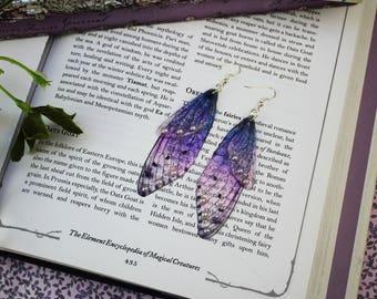 Long Dusky Purple Pearl Fairy Wing/Butterfly/Cicada Earrings