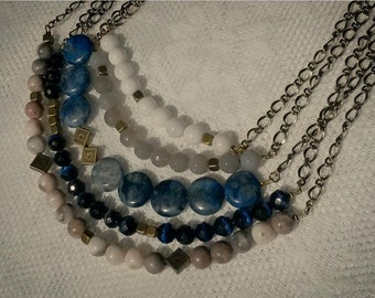 Blue necklace with a set of natural stones