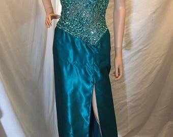 Vintage 70s 80s Mike Benet Formals Strapless Formal Evening Dress Teal Sequins Bodice Front Leg Slit