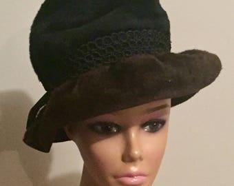 Vintage Hat 60s Schiaparelli Paris Black and Brown Faux Fur Cloche Bucket Hat Martelle Body