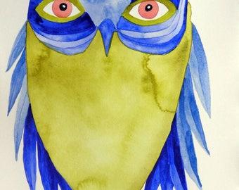Whimsical art, owl art, original art, whimsical bird art, watercolor painting, modern nursery art, kids room art, nursery art, owl painting