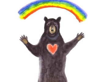 "Congratulations Card: ""Rainbow Bear"". By Laura Robertson"