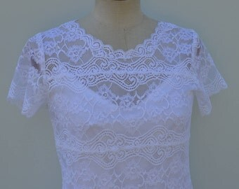 Lace lace short sleeve, tank top, lace lycra top white short sleeve, white neck lace, white blouse top