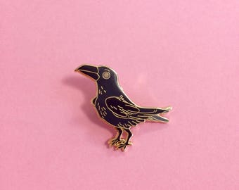 SECONDS black raven hard enamel pin 38mm