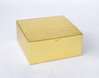 """Gold Boxes, 6 Gift Boxes, Bridesmaid Boxes, Groomsmen Gift Box, Large Gift Boxes, Gold Gift Boxes, Favor Boxes 8x8x3.5"""" NEW!"""