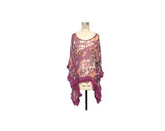 Purple Fringe Poncho Cover Up