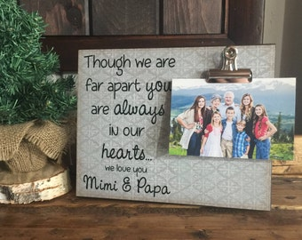 Though We Are Far Apart You Are Always In Our Hearts, Meme & Papa Gift, Christmas Gift, Thinking of You Gift