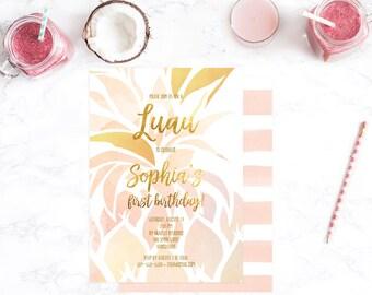 Luau Invitation, Luau Birthday Invitation, Luau Party Invitation, Hawaiian Luau Birthday Party, Luau Hawaiian Party