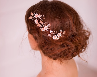 Rose gold wedding hair pins Rose gold leaf hair pins Rose gold bridal headpiece Rose gold leaf headpiece Flower bridal hair pins