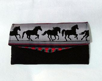 Handmade Horse Fabric Tri Fold Wallet