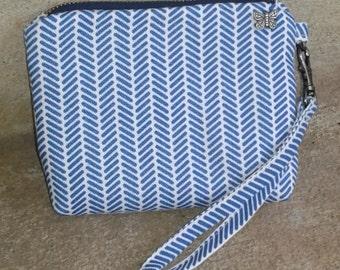 Herringbone Wristlet,6.5 w x 4.5 t x 1 d, Blue White Wristlet, Herringbone Clutch, Small Bag, Wristlet, bag, purse, pocketbook, clutch