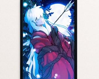 Inuyasha Print | Poster, Inuyasha, Anime, Inu, Anime Gift | Wall art