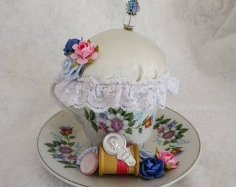 Teacup Pincushion, Repurposed Teacup Pincushion, Teacup With Flowers, Gift For Sewer, Gift For Quilter, Sewing Room Decor, Mothers Day Gift