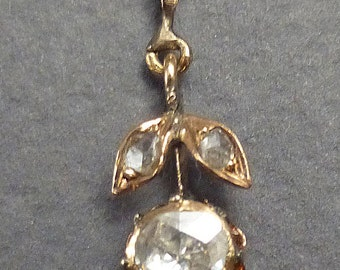 14K Antique Flower 3 Rose Diamonds .70ct Pendant chain not included