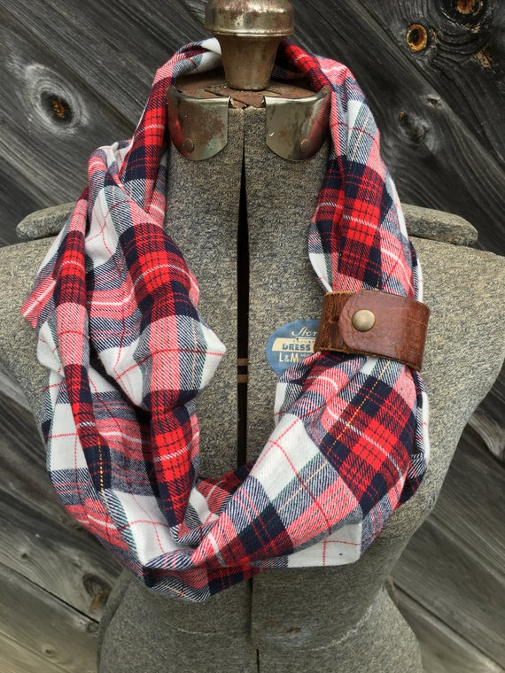 red and cream plaid flannel eternity scarf with a brown leather cuff - soft, trendy