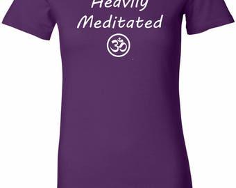 Yoga Clothing For You Heavily Meditated with OM Womens Longer Length Tee T-Shirt = 6004-HEAVILYOM