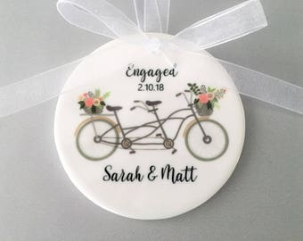 Engagement Ornament, Engagement Ornaments, Bicycle Ornament, Just Engaged, Engagement Gift, Engagement, Engaged, Bride to Be