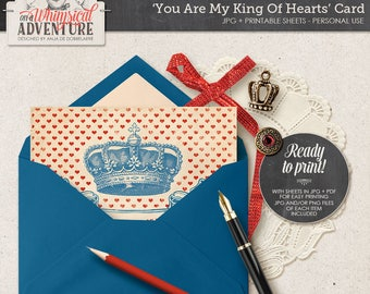 King Of Hearts Printable Card, Digital Printable Postcard, You Are My King Of Hearts, For Him, Instant Download, Vintage Style Crown, Banner