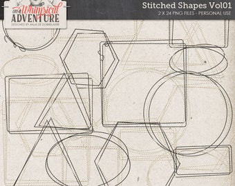 Digital stitches, digital download, scrapbook elements, digital scrapbooking, stitched shapes, stitching, square, circle, rectangle, oval