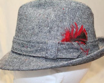 Vintage Dobb's GrayTweed Men's Dress Hat Fedora 7 Feather Hatband Men's Hat Classic Style