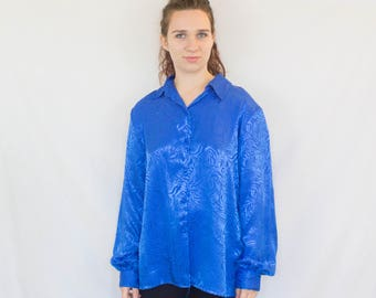 Blouse Vintage 1980s Blue Zebra Print Long Sleeve