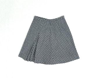 90s Grey Diamond Skater Skirt // Grey Checkered Miniskirt // High Waisted Aline Skirt // Size Small