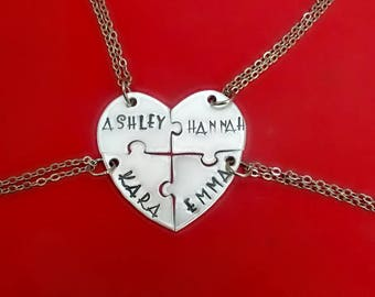 Personalized Bridesmaid Puzzle Necklaces, 4 Piece Heart Puzzle Piece Name Necklace Set, Hand Stamped Four Friend Jewelry Set, 4 BFFs Gifts