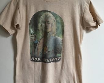 Original Rod Stewart Vintage 1977 Tour T-Shirt // 1970s Band Tee // Soft Rocker Shirt