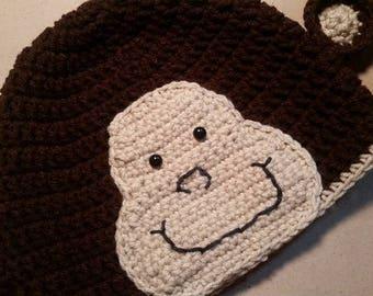 Child Monkey Hat, Boy Monkey Hat, Girl Monkey Hat, Knit Monkey Hat, Birthday Gift, Crochet Monkey Hat, Monkey Clothes, Child Hat, Monkey