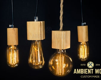 Wood pendant light vintage Industrial, Antique Edison Bulb, Industrial Lamp, Rustic Lighting