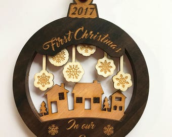 Personalized Ornament For New Home - Laser Engraved Ornament - First Christmas In New House Ornament - New Home Christmas Ornament