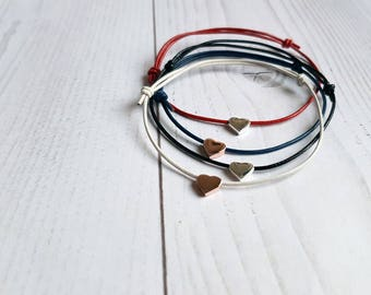 Heart bracelet with leather cord. Minimalist heart bracelet. Thin bracelet. Gifts for her. Bracelet mother daughter. Gifts best friend