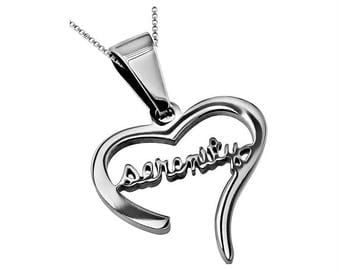 """Hand Writing Heart Necklace """"Serenity"""""""