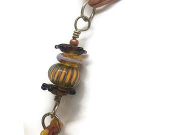 5 Lampwork Orange Beads- Pendant
