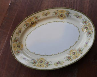 Vintage Meito F&B China Platter Charm Pattern Made In Japan Gold Border Serving Tray