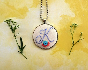 Embroidered initial necklace | Hand embroidered necklace, Embroidered monogram necklace, Monogram necklace, Embroidered monogram, Giftforher