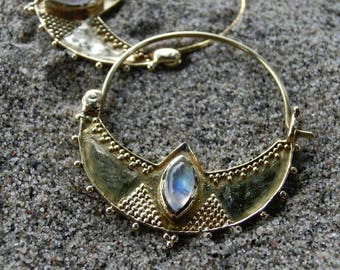 Tribal Earrings with Moonstone⎜Fits through Tunnels