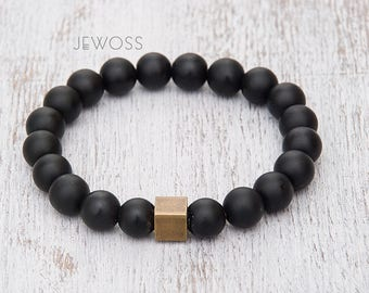 Black matte bracelet Onyx bracelet Gemstone beaded bracelet Power bracelet Stretch bracelet for men Meditation bracelet Protective bracelet