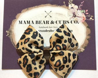 leopard bow, leopard print, zoo bows, animal bows, hair bows, hair clips, girls hair bows, hair bows for girls, boutique bows, kids bows