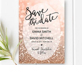 Printable Save The Date Card Rose Gold Wedding Save The Date Rose Gold Glitter Wedding Invitation DIY Wedding Card Digital Download 5x7""
