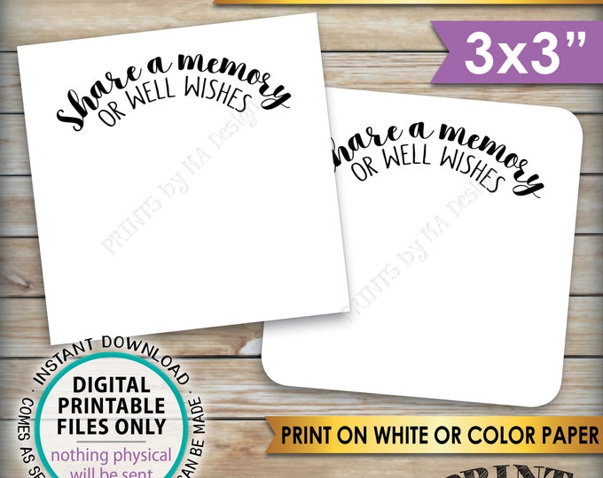"""Share a Memory or Well Wishes Cards, Retirement Party, Birthday, Graduation Party, PRINTABLE 3x3"""" cards on 8.5x11"""" Sheet, Instant Download"""