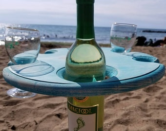 Salt Life, Beach Life Wine Table -  Shabby Chic Table for 4 Wine Glasses and a Bottle.