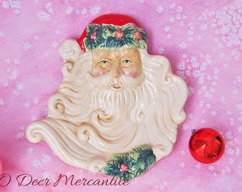 Santa Claus Head Cookie Plate: Vintage Christmas Tray or Spoon Rest
