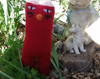 Hand Knitted RED CAT