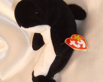 Waves Beanie Baby, Waves the Whale Beanie Baby with Echo the Dolphin Swing Tag, Rare Waves Beanie Baby