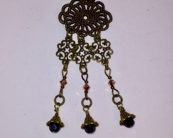 Antique Brass Chandelier Necklace