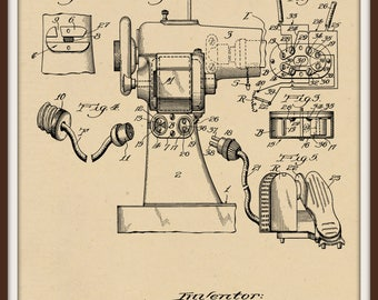 Electrically driven and Lighted Sewing machine Patent # 1711792 dated May 7, 1929. Restored and in various sizes and color background.