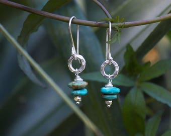 Genuine Turquoise Earrings with Beaten Thai Hill Tribe Silver Circle and Hooks